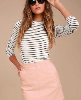 Harley Blush Pink Vegan Leather Mini Skirt