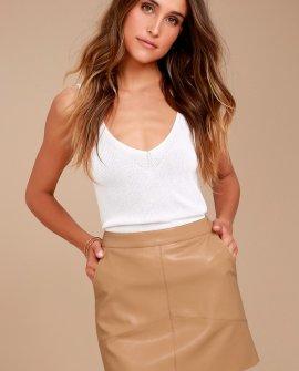 Harley Tan Vegan Leather Mini Skirt