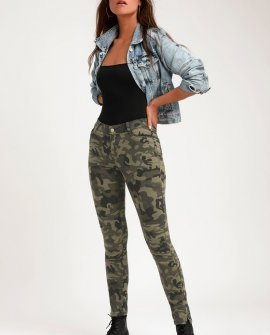 Harlie Olive Green Camo Print Skinny Jeans