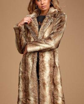 Haute Couture Tan Faux Mink Long Coat