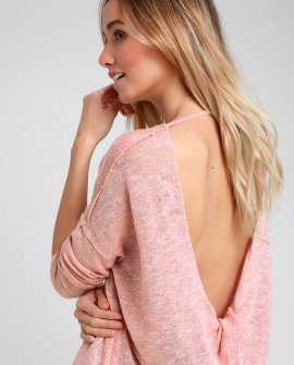 Hazey Baby Heather Mauve Backless Sweater Top