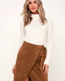 Head Babe In Charge Light Brown Suede Wrap Skirt