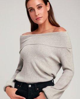 Head Over Heels Light Grey Off-the-Shoulder Sweater