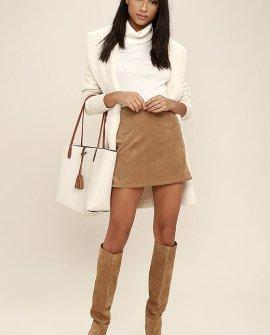 Head of the Class Brown Corduroy Mini Skirt
