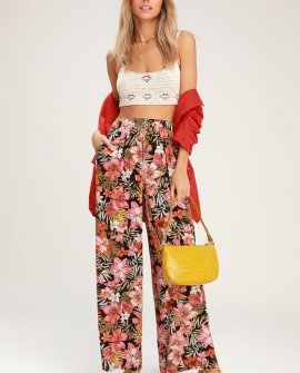 Heart Beats Black Tropical Print Wide-Leg Pants