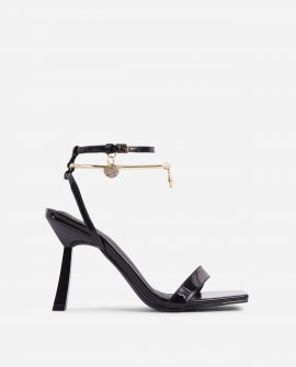 Heart Of Gold Diamante Ankle Band Detail Square Toe Slanted Heel In Black Patent
