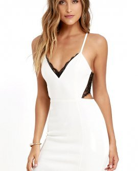 Heartbeat Song Black and Ivory Backless Lace Dress