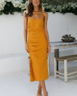 Heartfelt Confesseion Midi Dress Mustard