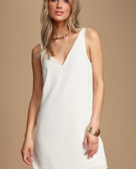 Height of Style White Sleeveless Shift Dress
