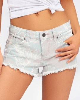 Hello Mellow Washed Grey Tropical Print Distressed Denim Shorts