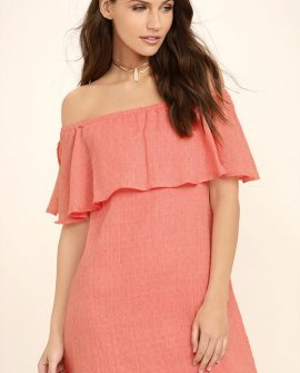 Hello Sunshine Coral Orange Off-the-Shoulder Dress