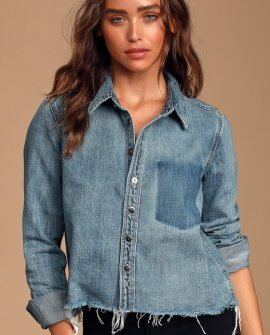 Hensley Medium Wash Denim Button-Up Top