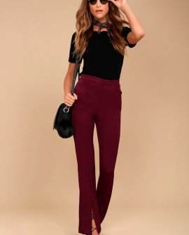 Her Life Burgundy High Waisted Trouser Pants