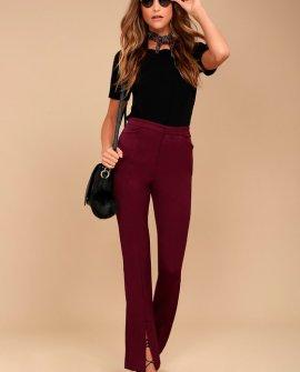 Her Life Burgundy High Waisted Trouser Pants