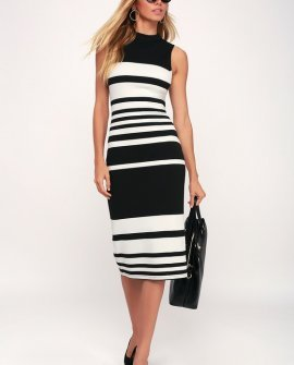 Here and There Black and White Striped Bodycon Dress