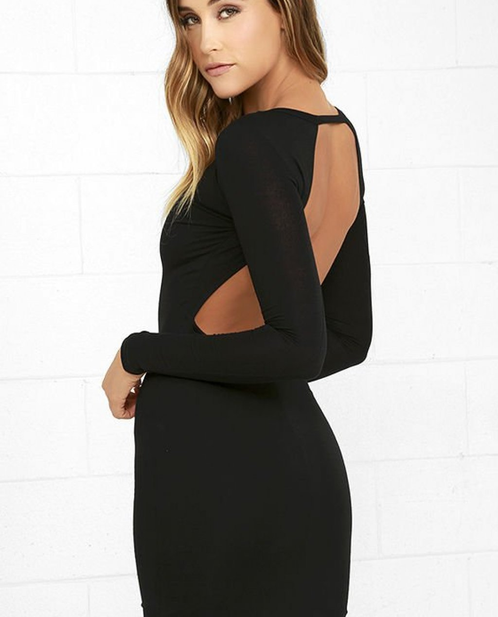 Here to Party Black Long Sleeve Bodycon Dress