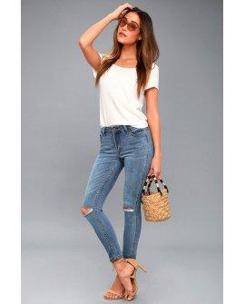 Hermosa Medium Wash Distressed Skinny Jeans