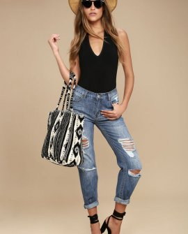 Hey Boy Medium Wash Distressed Boyfriend Jeans