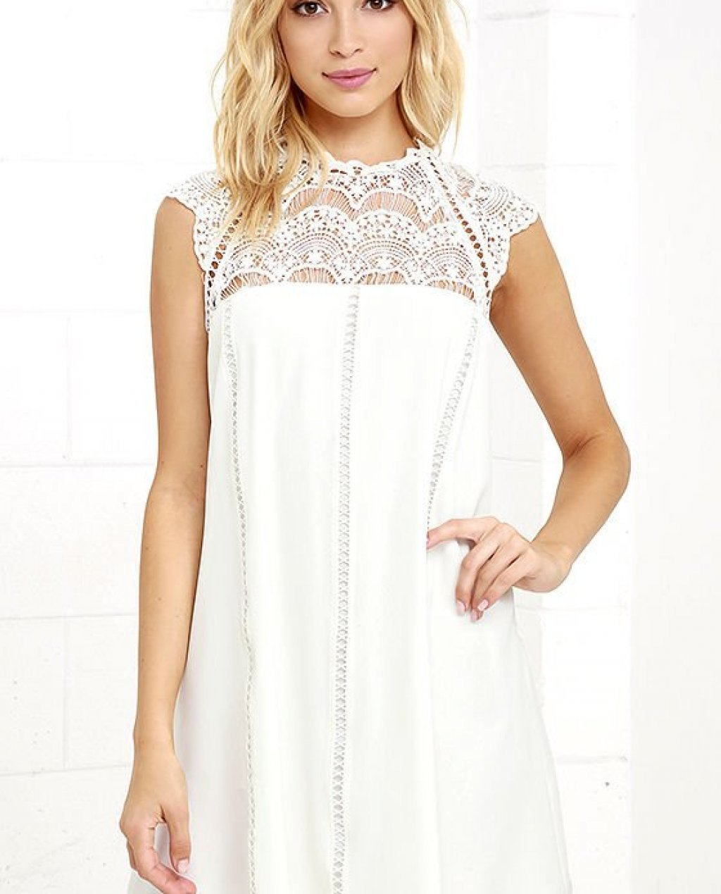 Hey Doll Ivory Lace Shift Dress