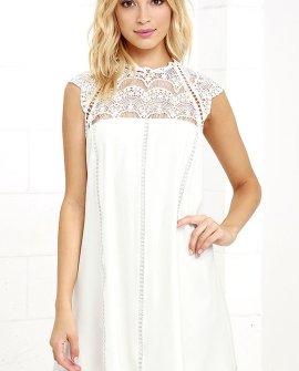 Hey Doll Ivory Lace Shift Dress