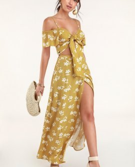 High Heights Mustard Yellow Floral Print Maxi Skirt