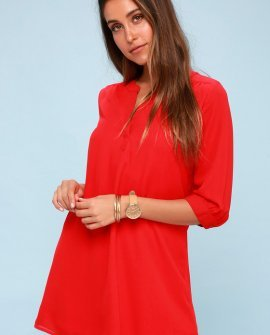 High Line Red Shift Dress