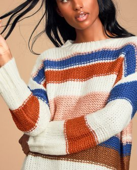 High Vista Cream Multi Striped Sweater