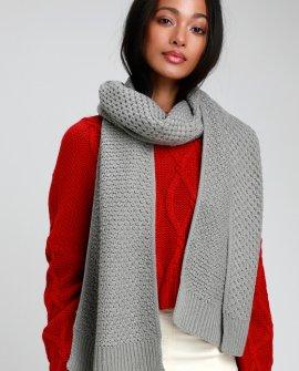Hillbrooke Grey Crochet Knit Scarf