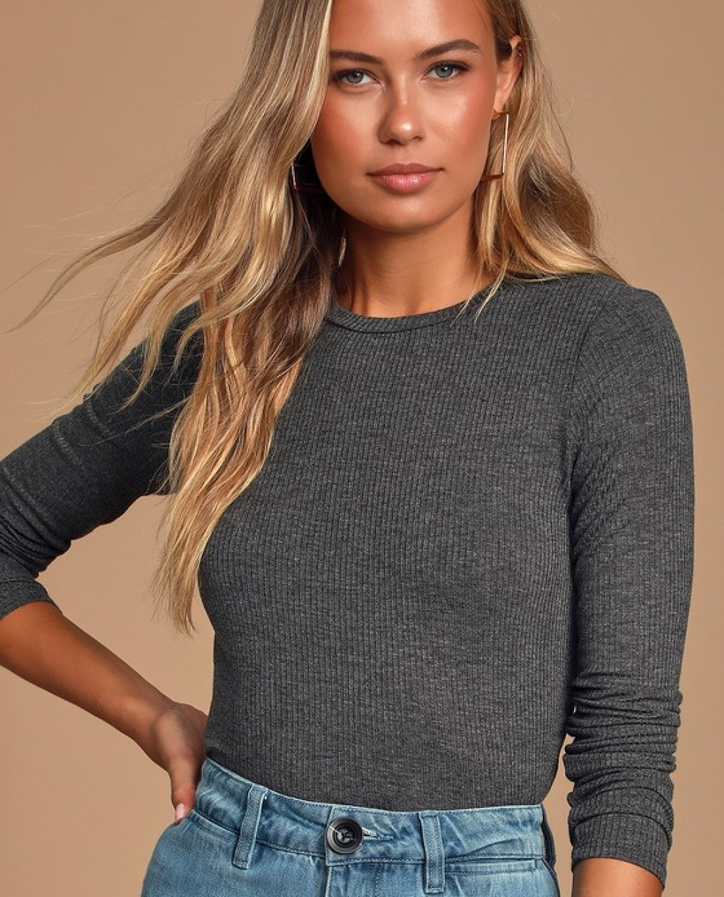 Hollis Heather Charcoal Grey Ribbed Long Sleeve Crop Top