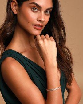 Hollywood 14k Gold Rhinestone Bangle Bracelet