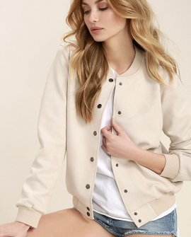 Home Run Light Beige Suede Varsity Jacket