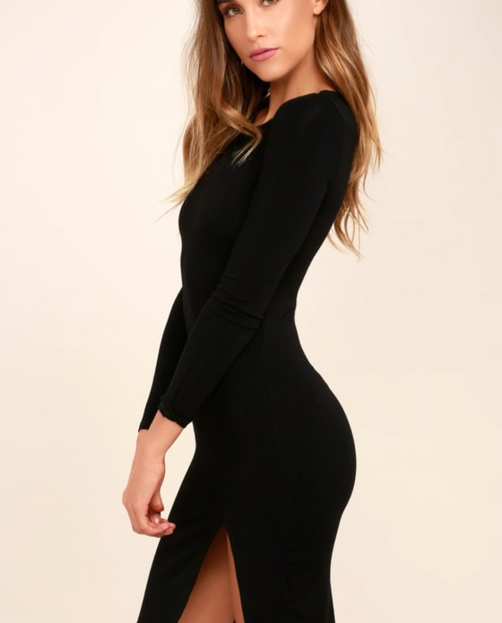 How I Wonder Black Long Sleeve Midi Dress