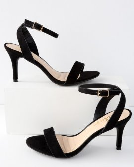Hunter Black Suede Ankle Strap Heels