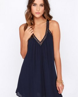 I'm Impressed Navy Blue Crochet Dress