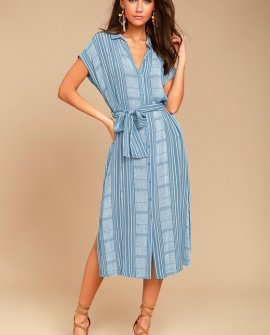 I'm the One Blue and White Striped Shirt Dress