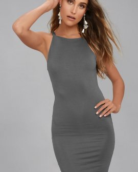 I Bet Charcoal Grey Bodycon Dress