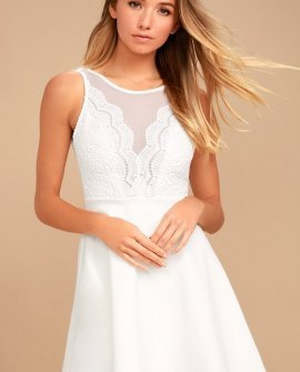 I Promise White Lace Skater Dress