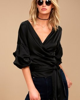 I Wanna Know Black Satin Wrap Top