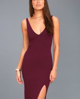 Iconic Moment Plum Purple Bodycon Midi Dress