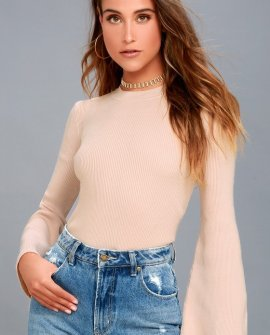Idolized Love Blush Bell Sleeve Sweater Top