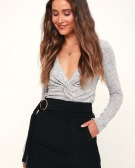 Impromptu Black Corduroy Belted Mini Skirt