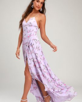In Love Forever Lavender Floral Lace-Up High-Low Maxi Dress