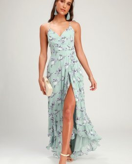 In Love Forever Sage Green Floral Lace-Up High-Low Maxi Dress