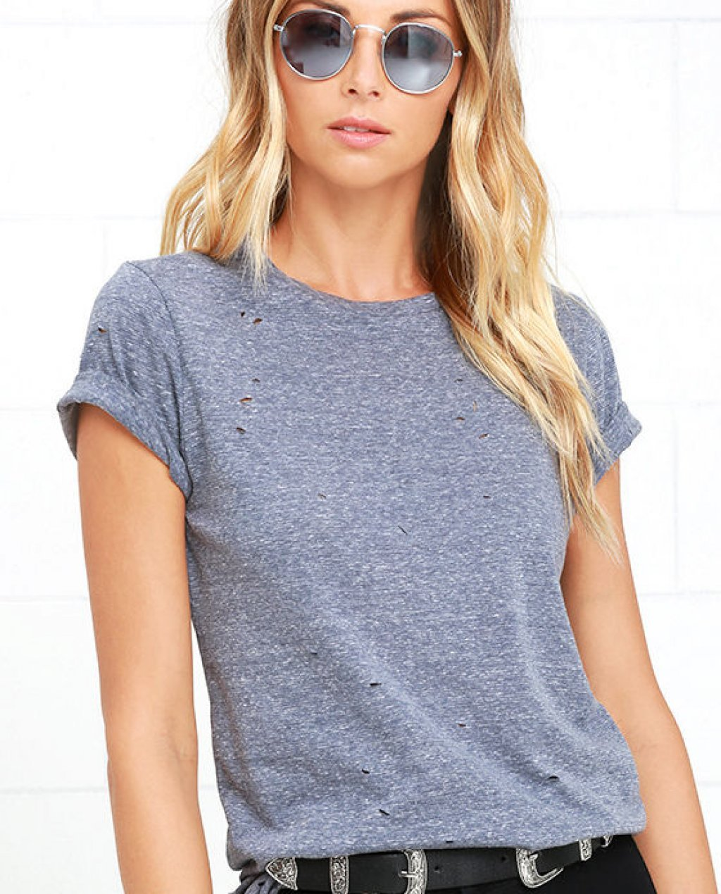 In the Raw Distressed Heather Slate Blue Tee