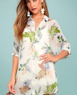 In the Tropics Sheer White Tropical Print Shirt Dress
