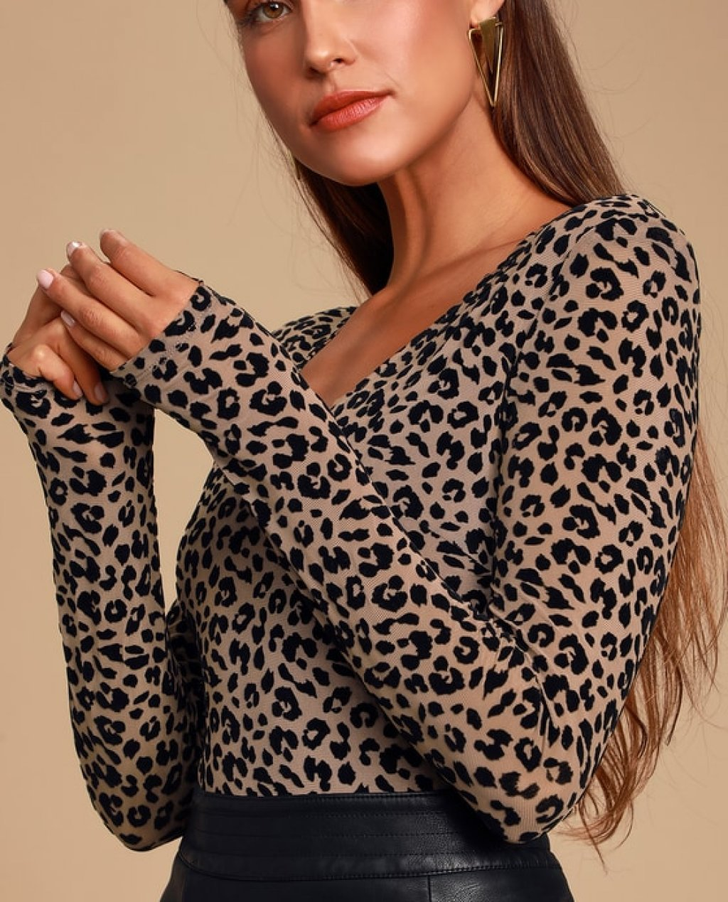 Inca Black and Nude Leopard Print Mesh Long Sleeve Bodysuit