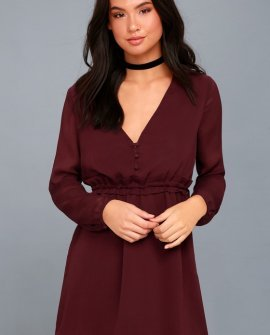 Indy Burgundy Long Sleeve Dress