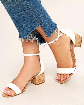 Irenee C White Cork Ankle Strap Heels