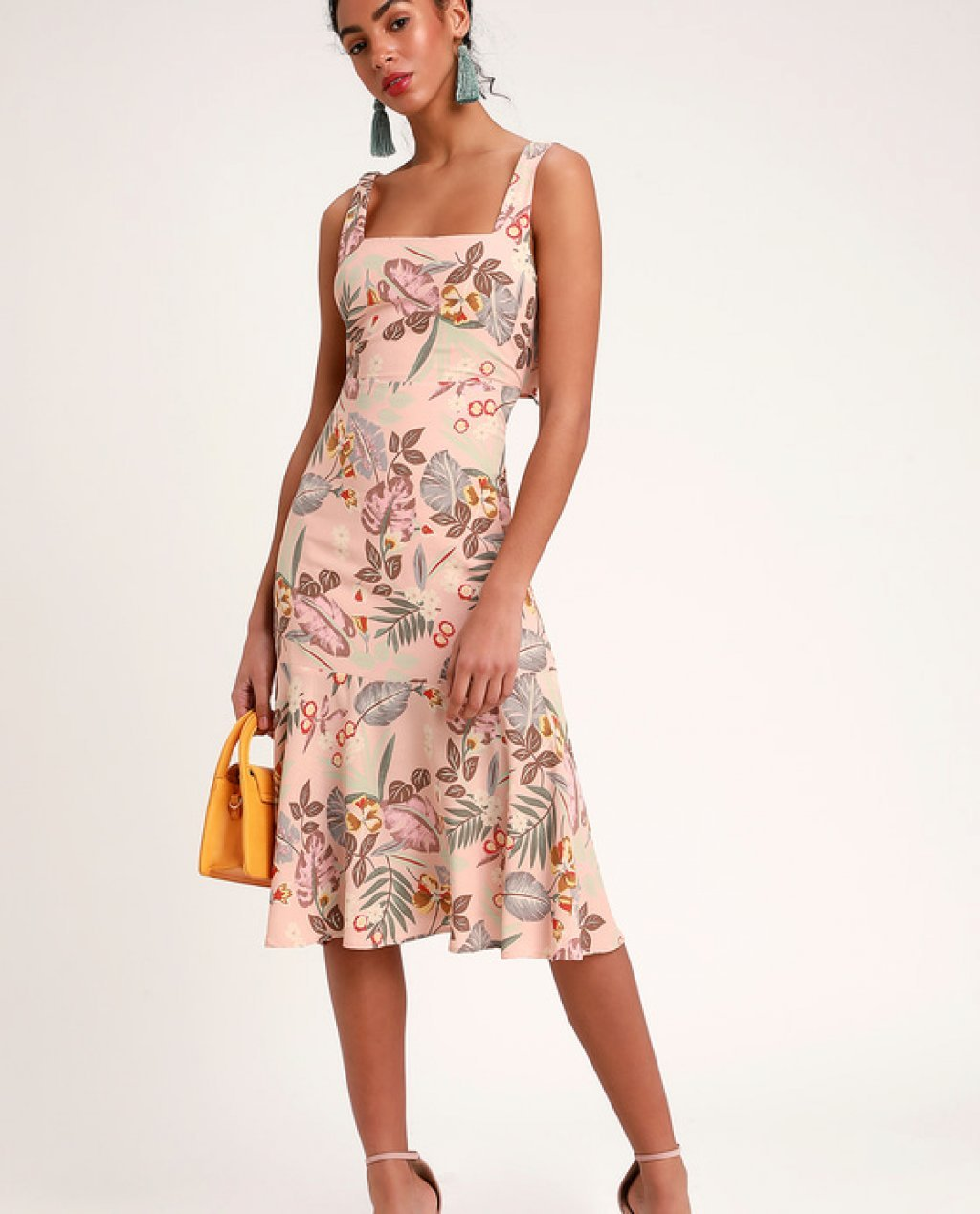 Island Sun Blush Pink Tropical Print Tie-Back Midi Dress