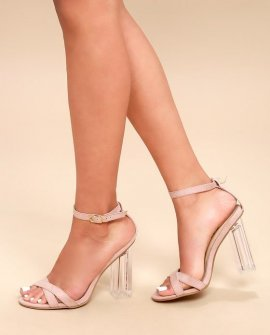 Ismay Blush Suede Lucite Heels
